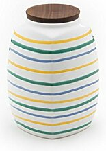 Gmundner Keramik Manufaktur 0103DVEC18 buntgeflammt Vorratsdose mit Holzdeckel, 18 cm