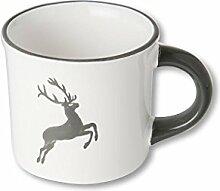 Gmundner Keramik Manufaktur 0319HKGL08 grauer hirsch Kaffeehäferl glatt, 0,18 L