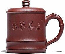 GMXCC Teekanne, lila Ton, Teetasse mit Deckel,
