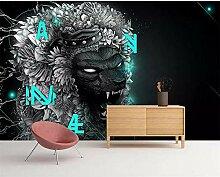 GMYANBZ Benutzerdefinierte Tapete Handgemalte Lion
