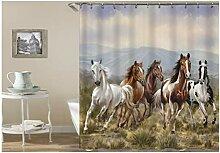 Gnzoe Polyester Badewanne Vorhang 5 Pferde Muster