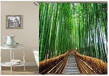 Gnzoe Polyester Badewanne Vorhang Bambus Waldweg