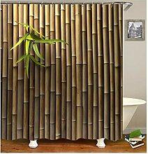Gnzoe Polyester Badewanne Vorhang Bambuss Muster