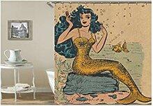 Gnzoe Polyester Badewanne Vorhang Meerjungfrau