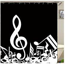 Gnzoe Polyester Badewanne Vorhang Note Muster