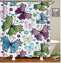Gnzoe Polyester Badewanne Vorhang Schmetterling