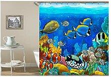 Gnzoe Polyester Badewanne Vorhang Unterwasserwelt