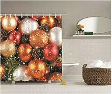 Gnzoe Polyester Badewanne Vorhang Weihnachtskugel