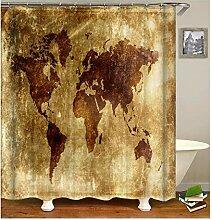 Gnzoe Polyester Badewanne Vorhang Weltkarte Muster