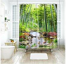 Gnzoe Polyester Duschvorhang Bambus Bach Aussicht