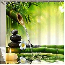 Gnzoe Polyester Duschvorhang Bambus Laufen Wasser