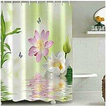 Gnzoe Polyester Duschvorhang Bambus lotus Muster