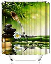 Gnzoe Polyester Duschvorhang Bambus Wasser Muster