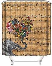 Gnzoe Polyester Duschvorhang Elefant Musik Score