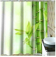 Gnzoe Polyester Duschvorhang Grün Bambus Muster