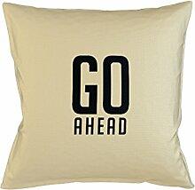 Go Ahead Motivation Kissenbezug Haus Sofa Bett Dekor Beige