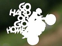 Go Hard Or Go Home bikers Hobby Funny Car Bumper Window Funny Vinyl Van Laptop Love Herz Decor Home Live Kids Funny Art Wand Aufkleber Aufkleber Motorräder