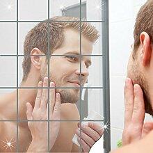 Goannra Decorative Mirrors Tiles,16 Stück Spiegelfliesen,Self-adhesive Mirror Wall Stickers,3D DIY Wandaufkleber Silber Küche dekorative Badezimmer Mosaik Reflektierende Spiegel