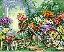 Goblinaduo DIY Malen Nach Zahlen,Fahrrad Im Garten