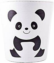 GODNECE 10L Rund Papierkörbe Büro Leder Panda