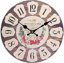 GODNECE 30cm Wanduhr Vintage Shabby Küche Uhr
