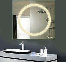 GOGO GO led Badspiegel Design Neutralweiß 4500K 18W led Größe 800x800mm spiegle mit lampe geeignet für feuchtraum 2 Jahren Garantie spiegel mit led CE und Rohs Zertifizier