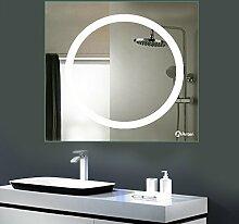 GOGO GO led Badspiegel kaltweiß 6500K 18W led Größe 800x800mm spiegle mit lampe geeignet für feuchtraum 2 Jahren Garantie spiegel mit led CE und Rohs Zertifizier