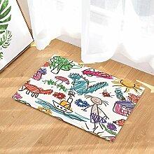 gohebe Kinder Bad Teppiche Kinder Jungen Mädchen Hand Drawn Cartoon Tiere Pflanzen in weiß rutschfeste Fußmatte Boden Eingänge Innen vorne Fußmatte Kinder Badematte 39,9x 59,9cm Badezimmer Zubehör