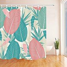 gohebe tropischen Pflanzen Decor Dusche Vorhänge von Pink und Blue Palm Blätter und Bambus Blätter und Conch Print Wasserdicht Stoff Badezimmer Vorhänge 180,3x 180,3cm
