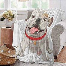 GOIIFLY Reisedecke Englische Bulldogge mit rotem
