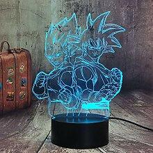Goku und Vegeta Figur Nachtlampe 3D Dragon Ball Z