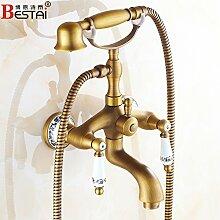 Gold alle Bronze antike Badewanne Armatur europäischen Dusche Wasserhahn, Wasser kann Antik-C drehen