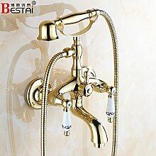 Gold alle Bronze antike Badewanne Armatur europäischen Dusche Wasserhahn, Wasser Golden drehen kann - EIN