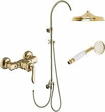 Gold Aufputz Duschsystem Set Retro Duscharmatur