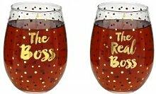 Gold Boss und Real Boss Weinglas Weingläser ohne