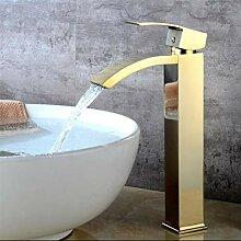 Gold Chrom Waschbecken Wasserhahn Wasserfall