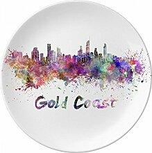 Gold Coast Ghana Afrika City Watercolor Porzellan