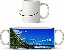 Gold Coast Küste von Australien Effekt: Zeichnung als Motivetasse 300ml, aus Keramik weiß, wunderbar als Geschenkidee oder ihre neue Lieblingstasse.