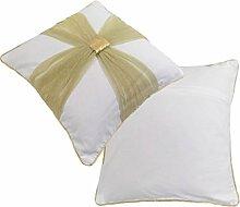 Gold Creme Hochzeit Weihnachten Taufe Schleife 100% Baumwolle bestickt Kissenbezug 45,7cm–45cm