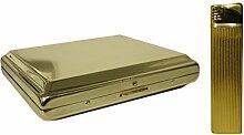 Gold Farbige Gas-Feuerzeug und Zigarettenetui
