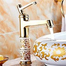 Gold Hahn heißen und kalten europäischen Mischpult alle Kupfer bad Armatur Waschbecken Wasserhahn vergoldet Farbe antik Wasserhahn, goldene Doppel Waschbecken Wasserhahn