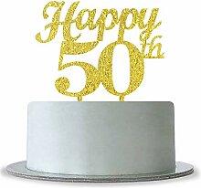 Gold Happy 50th Birthday Cake Topper-Hochzeit
