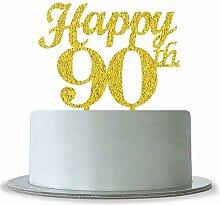 Gold Happy 90th Birthday Cake Topper-Hochzeit