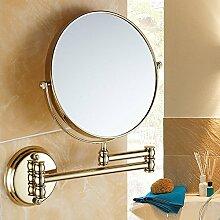 Gold Kosmetik Spiegel, An Der Wand Hängenden Make-Up-Spiegel Alle Kupfer 8 Zoll Rotary Falten Doppelseitig Make-Up Ausziehbaren Spiegel