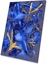 Gold Lila Blau Gelb modern abstraktes Porträt