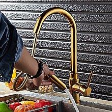 Gold Pull Wasserhahn Rotierende Küchenarmatur