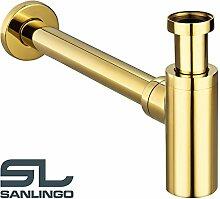 Gold Röhrensiphon Siphon Sifon Geruchsverschluss