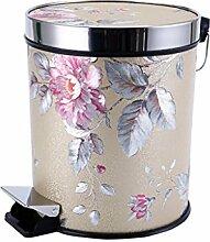 Gold + Rosa Blumen Pedal Mülleimer Mode Kreativ Mülleimer Küche Bad Mit Abdeckung Fuß Mülleimer 15L