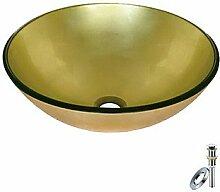 Gold Runde gehärtetem Glaswaschbecken mit der Entwässerung und Installation (0888-BLY-6470)