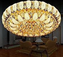 Gold-runde Kristalldeckenleuchte für